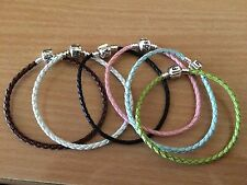 GENUINE LEATHER BRAIDED CHARM BRACELET FOR BEADS UK FREE DELIVERY