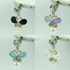 3.5mm Earphone Pearl Butterfly Anti Dust Plug Cap Stopper For iPhone HTC Samsung