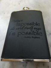 Custom Audrey Hepburn Quote Engraved Leather Dyed Steel Flask Wedding Gift