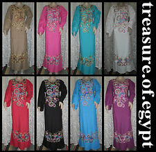 EGYPT ISLAMIC EMBROIDERY COTTON ABAYA JILBAB DRESS KAFTAN HIJAB ALL SIZES COLORS