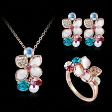 Jewelry Set 18K Rose Gold Plated Crystal Enamel Earring/Necklace/Ring Flower