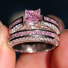 Brand Pink Sapphire Diamonique 10KT White Gold GF Wedding Ring Set Sz 5-11 Gift