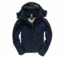 SUPERDRY Pop Zip Hooded Arctic Windcheater Jacket - Nautical Navy/ Grey Marl
