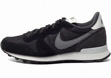 NIKE WOMENS INTERNATIONALIST Black-Grey suede-mesh running training sneakers new