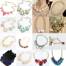 Vintage Women Crystal Chunky Statement Bib Pendant Gold Chain Choker Necklace