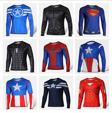 Men T-shirt Avengers Super Heroes Spider Man Captain America Long Sleeve Tops