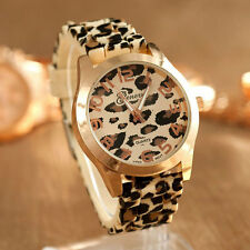 Fashion Quartz Movement Wrist Watch Silicon Leopard Strap Wristband Girl Women