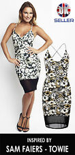 LADIES SAM FAIERS STRAPPY FLORAL PRINT MESH PARTY MIDI DRESS BODYCON TOWIE CAMI