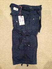 NWT Boy's LR Scoop Navy Blue Solid Belted Cargo Shorts ALL SIZES 4-7, 8-18