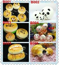 Simulation Buns Bread Soft Squishy Keychains Hamburger Panda Cell Phone Straps