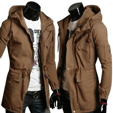 Long Trench coat Pure cotton hooded long windbreaker men's frock coat with hood
