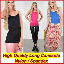 Long Cami Top Basic Camisole Tight Singlet Adjustable Strap  Spandex
