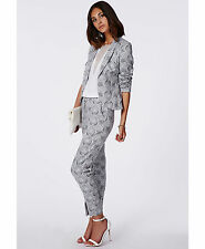 MISSGUIDED CIGARETTE TROUSERS PANTS IN PAISLEY BLUE HIGH WAISTED SPLIT ANKLE