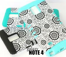 For Samsung Galaxy Note 4 - HARD & SOFT RUBBER HYBRID ARMOR SKIN CASE FLOWERS