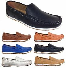 Men Brixton New Plain Leather Driving Casual Shoes Moccasins Slip On Loafers aw1