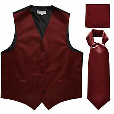 New Men's burgundy formal vest Tuxedo Waistcoat ascot hankie set wedding prom