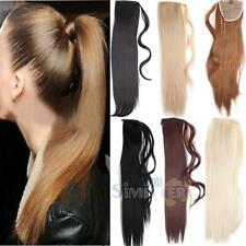 Women Girl Long Clip In Hair Extension Wrap Around Clip On Natural Ponytail Hair
