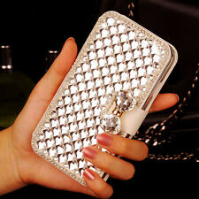 Elegant Bling Crystal Rhinestone White Wallet PU Leather Case Cover For LG