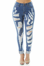 NEW JEANS DESTROYED RIPPED DISTRESSED WOMEN SKINNY SLIM BLUE DENIM JEANS