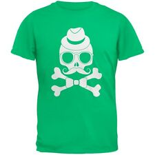 Hipster Skull And Crossbones Green Adult T-Shirt