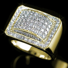New Mens Gold Fn Lab Diamond Hip Hop Pinky Engagement Ring Stainless Ice Fashion