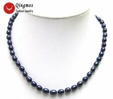 "SALE 7-8MM Black natural Rice Freshwater PEARL 17"" NECKLACE-5591 Free shipping"