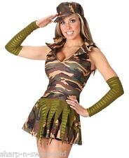 Ladies Sexy Army Military Armed Forces Camouflage Fancy Dress Costume Outfit