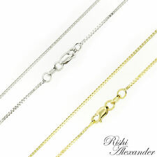 10K Gold BOX Chain Necklace All Widths and Lengths Italian Made Stamped 10KT