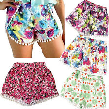 Pom Pom High Waisted Tassel Festival Tribal Print Beach Casual Gym Shorts S M L