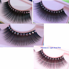 Pink Sparkly Lashes False Crystal Diamante AB Eyelashes Gem Fake Prom Eye Hen