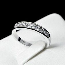 White gold gp Classic lab Diamond Anniversary Eternity Wedding Party Band Ring