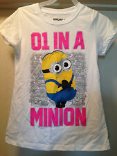 DESPICABLE ME 2 White 01 One in a Minion Girls Tee T Shirt Size 4-16 Brand New