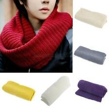 Winter Warm Men Women 2 Circle Cable Knit Cowl Neck Long Scarf Shawl Scarves