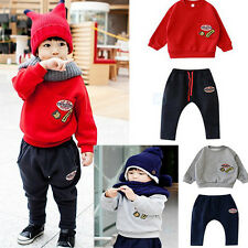 Fashion Baby Kids Boys Red/Gray Sweater Hoodies Shirts + Pants Outfits Sets 1-6Y