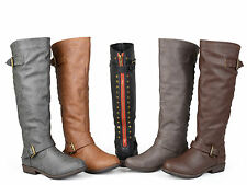 Journee Collection Women's Wide-Calf Studded Knee-High Riding Boot