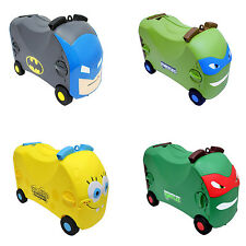 Kids Vrum Ride On Toy Box Pull Along Suitcase Travel Case Childrens Luggage