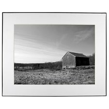 New England Farm Black and White Photo White Mat Framed Print James Crouch