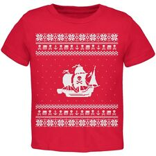 Pirate Ship Ugly Christmas Sweater Red Toddler T-Shirt Top