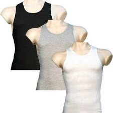 3 Mens A-Shirts 100% Cotton Undershirt Ribbed Muscle Tank Top Wife Beater Plain