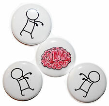 """""""BUTTON ZOMBIES & BRAINS"""" Mini Fridge Magnets MADE IN UK. Gift & Kitchen - 25mm"""