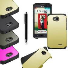 Dual Layer Case PC Box Cover For LG Optimus L70 MS323 MetroPCS Exceed 2 Verizon