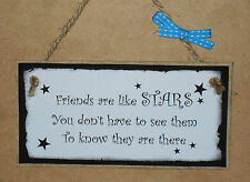 """Wooden MDF Plaque Friends are like Stars 150mm (6"""") x 75mm (3"""")"""