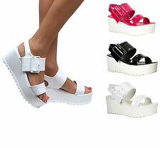 LADIES HIGH MID HEEL PLATFORM FLATFORM ANKLE STRAP CHUNKY WEDGE SHOE SANDAL SIZE