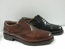 MENS  LEATHER BLACK SHOES LACE UP CADET WORK SCHOOL OXFORD SMART FORMAL BOOT