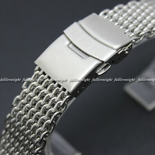 New 18mm Silver Mesh Stainless Steel Shark Bracelet Watch Band Replacement Strap