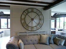 Extra Large Round Distressed Painted Roman Numeral Clock