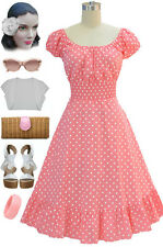 50s Style Light PINK &White POLKA Dot PINUP Peasant Top On/Off t/Shoulder Dress