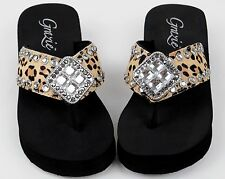 Grazie Flip Flop Thong Shoes MYRA LEOPARD Crystals Bling Leather Sandal 6 - 11