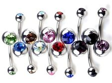 Belly Button 316L Crystal Surgical Steel Belly Button Navel Ring Steel Bar Gem