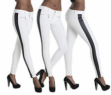 Women White Leggings With Side Leather Panel Jeans Trousers Size  6 10 12 14
